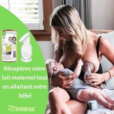 Recueil-Lait Haakaa Silicone 100% Naturel 150ml + Couvercle Gris  Produits