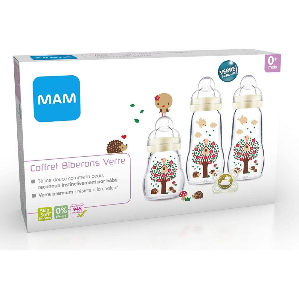 Coffret biberon naissance verre Mam  Produits